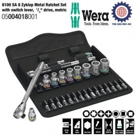"""Bộ cần siết tròng cóc 8100 SA 8 Zyklop Metal với cần gạt, đầu vặn, ¼"""", hệ mét – WERA 05004018001"""