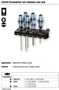 3334_6 Screwdriver set, stainless and rack