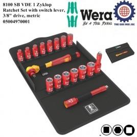 Bộ tuýp cách điện 8100 SB VDE 1 Zyklop Ratchet Set with switch lever 3/8″ hệ mét Wera 05004970001
