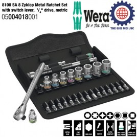 8100 SA 8 Zyklop Metal Ratchet Set with switch lever, 1/ 4″ drive, metric