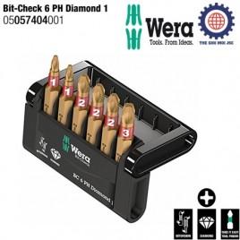 Bộ đầu vít phủ kim cương Bit-Check 6 PH Diamond 1 – Wera 05057404001