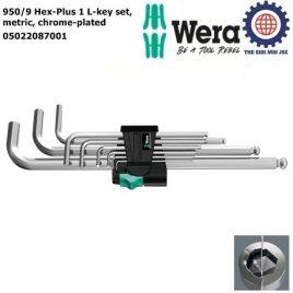 Bộ lục giác đầu bi 950/9 Hex-Plus 1 L-key set, metric, chrome-plated Wera 05022087001