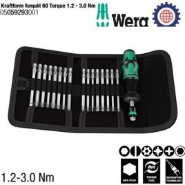 Bộ Kraftform Kompakt 60 điều chỉnh mô-men xoắn (1.2 – 3.0Nm) – Wera 05059293001