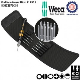 Bộ tua vít 11 chiếc Kraftform Kompakt Micro-Set ESD/11 SB – WERA 05073670001