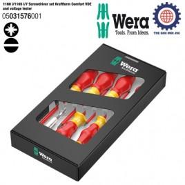 BỘ TUA VÍT 7 CHIẾC CÁCH ĐIỆN 1165I/7 PZ VDE – WERA 05031576001-1160 i/1165 i/7 Screwdriver set Kraftform Comfort VDE and voltage tester