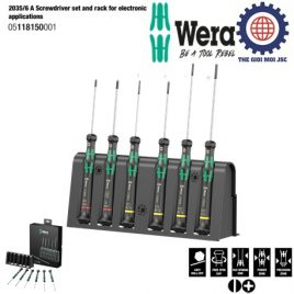Bộ tua vít điện tử 6 chiếc 2035/6 A Screwdriver set and rack for electronic applications Wera 05118150001