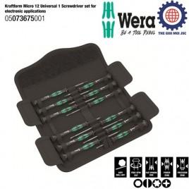 Bộ tua vít điện tử 12 chiếc Wera 05073675001 Kraftform Micro 12 Universal 1 các ứng dụng điện tử và cơ khí chính xác