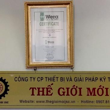 Chứng nhận nhà phân phối chính thức dụng cụ Wera tại Việt Nam – Thế Giới Mới JSC