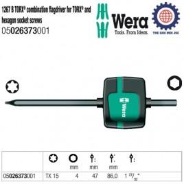 Dụng cụ mở vít Wera dạng lá cờ kết hợp lục giác và hoa thị 1267 B TORX® combination flagdriver for TORX® and hexagon socket screws – Wera 05026373001