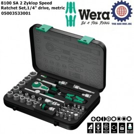 Bộ tuýp 8100 SA 2 Zyklop Speed Ratchet Set 1/ 4″ ( 42 chi tiết) drive metric Wera 05003533001