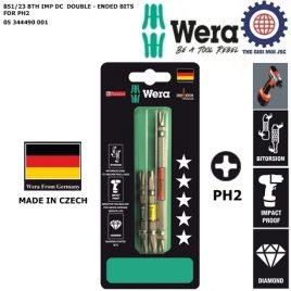 Bộ mũi vít 2 đầu 4 cạnh PH2 BiTorsion Impaktor phủ kim cương máy khoan bắt vít Wera 05344490001