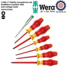 Bộ tua vít cách điện 7 cái 1160 i/7 Safety screwdriver set Kraftform Comfort VDE and voltage tester Wera 05031575001