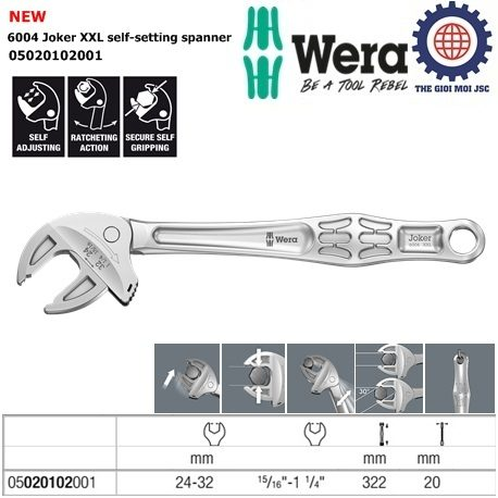 6004 Joker XXL self-setting spanner 24 – 32 mm wera 05020102001