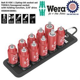 Bộ tuýp đầu vít hoa thị/ lục giác cách điện Belt B VDE 1 Zyklop bit socket set TORX®/hexagonal socket with holding function, 3/8″ drive Wera 05004930001