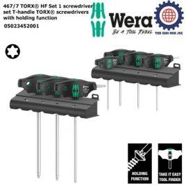 Bộ tua vít hoa thị tay cầm T với chức năng giữ 467/7 TORX® HF Set 1 screwdriver set T-handle TORX® screwdrivers with holding function Wera 05023452001