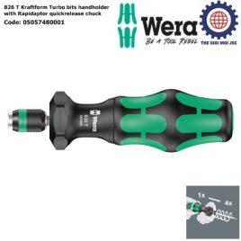 Cán vặn vít 826 T Kraftform Turbo với tháo lắp nhanh Wera 05057480001